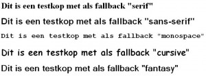 Een screenshot van 5 fallback fonts