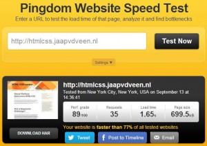 Uitslag van de analyse op snelheid voor deze website