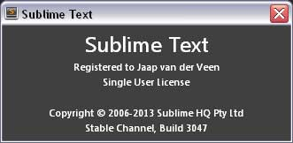 screenshot van help»about